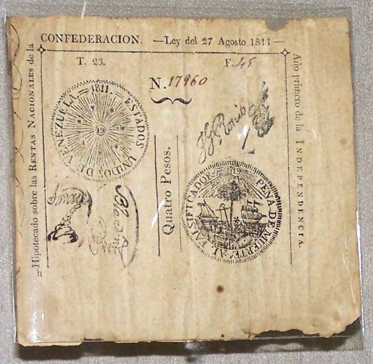 FBJ   Papel moneda 4 pesos 1811